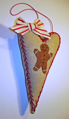 Linen Embroidered Heart Ornament with Gingerbread Boy by MyDisgustedCats on Etsy, $10.00