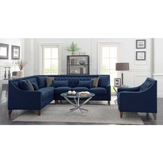Tufted Sectional Sofa, Living Room Sectional, Cushions On Sofa, Navy Blue Sectional, Contemporary Leather Sofa, Modern Contemporary, Dream Home Design, House Design, Family Room Addition