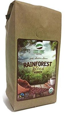 Great Organic Coffee Beans Rainforest Blend 12oz Gourmet Light Medium Roast Coffee Beans By Eco Vibe Coffee Fair Trade and Usda Certified Organic We Donate to Environmental Goodness!
