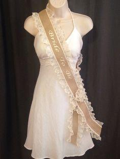 Bachelorette Sash  Bridal Shower Sash  Burlap & by studiolmichelle, $32.00