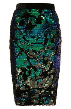 Topshop Sequin Velvet Pencil Skirt | Nordstrom