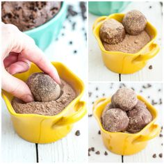 No Bake Brownie Bites - only 3 ingredients! Brownie mix, butter and choco chips, then roll in choco pudding mix.  YUM!