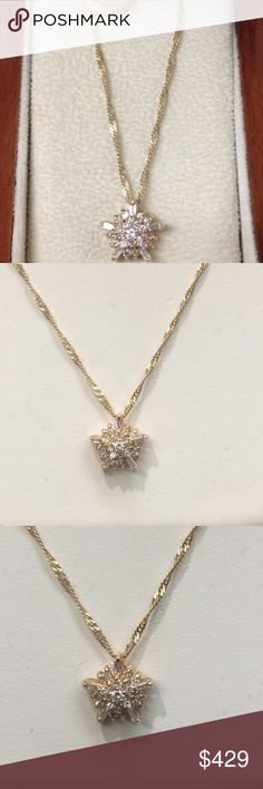 """14k gold twist chain & diamond necklace Gorgeous 18"""" 14k yellow gold twist chain (adds to the sparkle factor) with an approximate 1ctw diamond cluster star flower. Pictures do not do this beautiful piece justice! Jewelry Necklaces"""