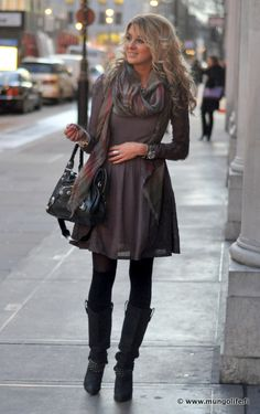 Dress scarf statement jewels tights boots and black and white houndstooth peat coat