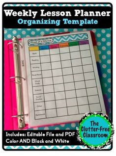 Clutter-Free Classroom: Weekly Lesson Planner {Teacher Organization Tool, Lesson Planning, Back to School Binder Ideas} Back to School tips Teacher Binder Organization, Organizing, Preschool Classroom, Classroom Ideas, Kindergarten, Future Classroom, Preschool Curriculum, Classroom Inspiration, Lesson Planner