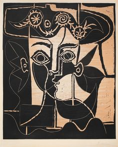 Pablo Picasso - GRANDE TÊTE DE JACQUELINE AU CHAPEAU (B. 1077; BAER 1317; PP.); Creation Date: 1962; Medium: Linoleum cut printed in black and beige;...