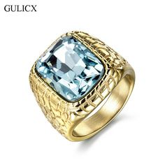 GULICX Fashion Gold Plated Stainless Steel Punk Large Ring for Men Blue Princess Cut CZ Crystal Party Jewelry BR158