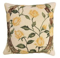NCU935 NCU935 Yellow Rose of Texas is handmade needlepoint pillow featuring a field of yellow detailed roses twined around a lucky horseshoe, 18'x18'. Texas history is full of legend and lore. One suc