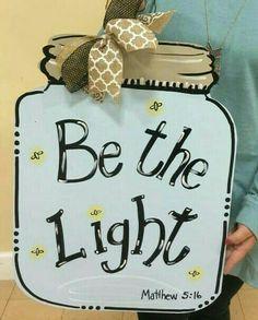 NEW!~Primitive Wood Sign~Let your Light SHINE~Matthew 5:16~Lightning Bugs in Jar