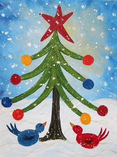 Happy Day Painting by Molly Roberts Christmas Paintings On Canvas, Christmas Tree Painting, Christmas Canvas, Christmas Drawing, Christmas Projects, Holiday Crafts, Canvas Paintings, Christmas Artwork, Christmas Rock