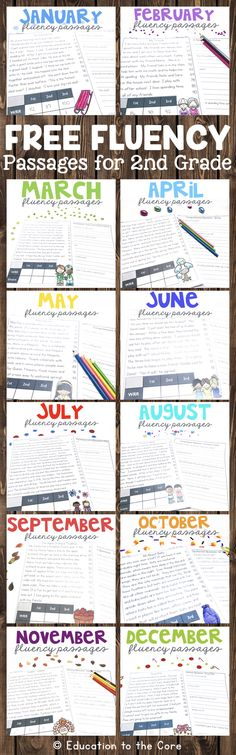 Second Fluency Passages Sampler! Get one fluency passage and one comprehension question sheet for each month! These are great for guided reading, literacy centers, fluency stations, interventions, homework, and/or morning work. They also include social studies and science based passages.