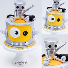 A Chibi Robo cake Cookie Cake Decorations, Cake Decorating, Cinnabon Cake, Walle Y Eva, Robot Cake, Giant Cake, 3rd Birthday Cakes, Baby Birthday, Cake Design Inspiration
