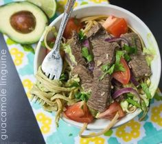 Guacamole Linguine Saganaki Recipe, Guacamole Mix, Sirloin Steaks, Linguine, Nutrition Program, Group Meals, Healthy Nutrition, Pot Roast, Pasta Dishes