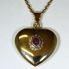Herzanhänger (585er Gold) mit Rubin