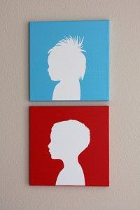 DIY Canvas Silhouette... Would LOVE to do this with Noah's silhouette