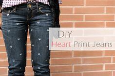 Diy: Heart Print Jeans no Stefany e Ponto