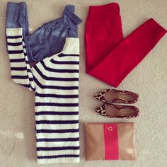 red white blue and leopard