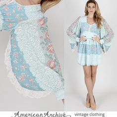 Vintage 70s Blue Floral Prairie Mini Boho Sheer by americanarchive, $78.00