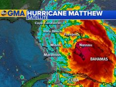 PHOTO: As of 11 a.m. ET, Hurricane Matthews center is 180 miles southeast of West Palm Beach, Florida, moving northwest at 14 mph, according to the National Hurricane Center.