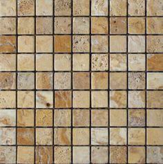 Mozaika marmurowa -  Kolekcja: Tetra 30; Kod: T3010; Wykończenie: ANTICO; Materiał: Travertino Gold; Wym. Kostki: 3,0x3,0 cm; Wym. Plastra:  28,9x28,9 cm