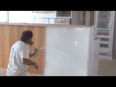 Painting Kitchen Cabinets - How to paint kitchen cupboards using an airless paint sprayer. - YouTube