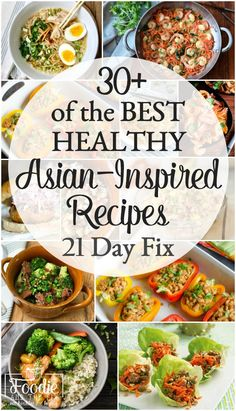I've put together more than 30 of the BEST deliciously healthy 21 Day Fix Asian-Inspired recipes including dinners, side dishes and even an appetizer or two. All of them include 21 Day Fix container counts, but you definitely don't need to be on the 21 Day Fix to enjoy them! #asian #dinner #lunch #21dayfix #healthy #mealprep #kidfriendly #easy #beachbody #portioncontrol #best21dayfixrecipes