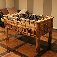 Foosball Table for Game Room Game Room Furniture, Log Furniture, Rustic Games, Table Football, Woman Cave, Log Homes, My Dream Home, Rustic Decor, Indoor