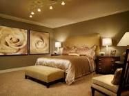 Master bed room color and lights set the mood