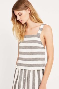 eb239b07980 Striped Pinafore Black and White Cami