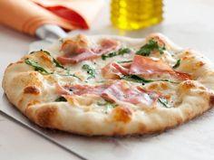Perfect White Pizza -- easy dough, mozz, arugula, prosciutto = Heaven.  By Debi Mazar & @Gabriele Corcos