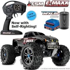 Product Description The already-loaded E-Maxx now includes Traxxas Stability Management, waterproof electronics, and the TQi transmitter as standard equipment. Traxxas E Maxx Brushless, Traxxas 4x4, Remote Control Cars, Radio Control, Rc Trucks, Rc Cars, Monster Trucks, Campaign, Vehicles