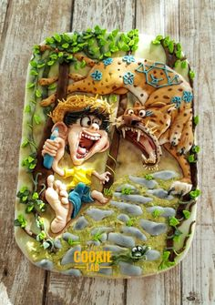 """Chico Bento by Marta Torres of The Cookie Lab – Bolachas Decoradas Artesanais When I was living in Brazil, this naughty boy """"Chico Bento"""" was part of our daily life in the form of cartoons. Inspired by the amazing work of """"Tiago Hoisel"""" a. Fancy Cookies, Sweet Cookies, Cute Cookies, Royal Icing Cookies, Yummy Cookies, Cupcake Cookies, Sugar Cookies, Cupcakes, Cookie House"""