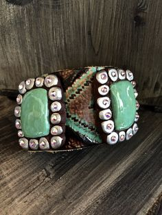 Sookie Sookie toiled turquoise leather cuff