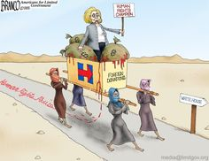 clinton campaign trail? Just follow the blood money from foreign donors. Cartoon by A.F.Branco ©2015.