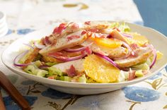 Honey-Glazed Chicken Salad -- Sweet and savory are at it again in this awesome chicken salad recipe. It's made with smoky bacon, sweet honey and refreshing citrus slices. Kraft Recipes, Kraft Foods, Honey Glazed Chicken, Orange Chicken, Cooking Recipes, Healthy Recipes, What's Cooking, Main Dish Salads, Chicken Salad Recipes