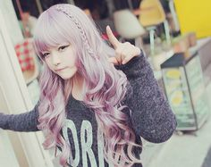 Ulzzang, levander, curly hair ^^