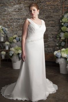 Nice Evening Dresses plus size A-line Court Train Straps Chiffon Fabric Plus Size Wedding Dresses with Beading ... Check more at http://24myshop.tk/my-desires/evening-dresses-plus-size-a-line-court-train-straps-chiffon-fabric-plus-size-wedding-dresses-with-beading/