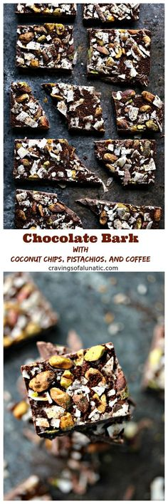 Chocolate Bark with Coconut Chips, Pistachios, and Coffee from cravingsofalunatic.com- This recipe can be made with any kind of chocolate you prefer. Made with coconut chips, chopped pistachios, and finely ground coffee. Epic chocolate bark for coffee lovers! #sponsored #FuelYourAwesome: