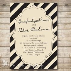 Black And Ivory Stripes Wedding Invitations IWI294 Check these out. Super good deal and include RSVP cards.