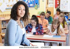 Portrait Of Teacher In Class With Pupils