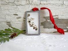 Christmas Ornament - pine cone red green vintage photograph chic under 20 office gift hostess teacher stocking stuffer