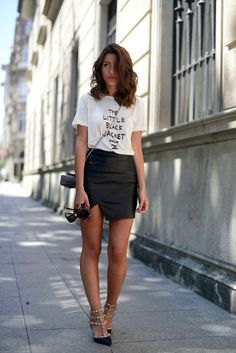 """Typographic tshirt and skirt """"Fashions fade, style is eternal.""""  — Yves Saint-Laurent // love this look"""