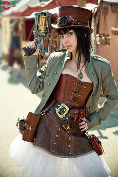 steampunk gun woman