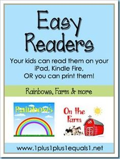 Free Easy Readers for your kids  to read on your iPad {or other device}.  You can also choose to print them full size, or scale them down to make mini easy reader books!