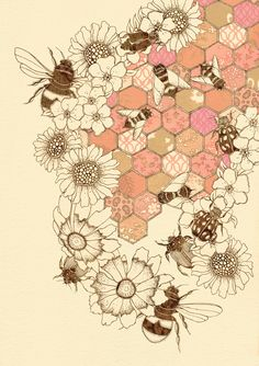 Fp idea: honeycomb stencil, bee and double dipped flowers. Quilt Of Honey Bees 12 x 16 by Buttermoths on Etsy, Inspiration Art, Art Inspo, Illustration Art, Illustrations, Bee Art, Save The Bees, Bees Knees, Art Design, Artsy