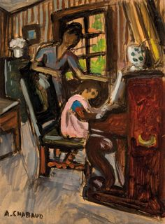 Auguste CHABAUD (1882-1955)  Jeune fille au piano. Circa 1920.