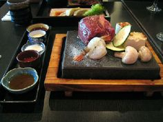 Ishiya Japanese StoneGrill, Melbourne: aged beef tenderloin with prawns, zucchini, tofu and mushroom How To Cook Kale, How To Cook Steak, How To Cook Chicken, Grill Stone, Cooking Pork Roast, Aged Beef, Cooking Stone, Bbq Menu, Bento Recipes