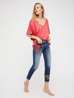 Jackie Embroidered Skinny Jeans | In a mid-rise these skinny jeans feature beautiful embroidery detailing down the sides.      * Premium stretch denim fabric.    * Five-pocket style.    * Button closure and zip fly.    * Fits true to size.
