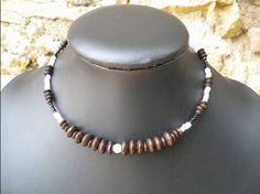 Collier collection automne, monté sur fil mémoire, sans fermoir, perles de bois : Collier par ghilou-creations-ceintures-bijoux