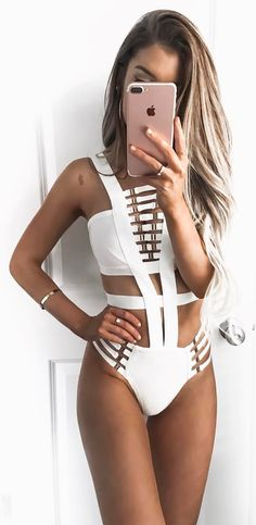 beautiful white monokini
